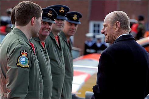 HRH Prince Philip meeting 621VGS staff members at Wyvern Barracks