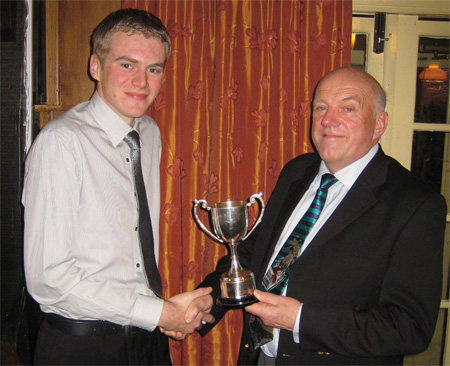 FSC Tobias Wilson awarded Best Staff Cadet 2011 by Sqn Ldr Woolcock OC 621 VGS