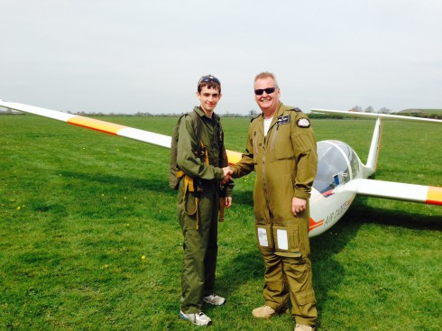Jnr Cpl Peter Barnes after completing GS Solo with instructor Flt Lt Nick Black
