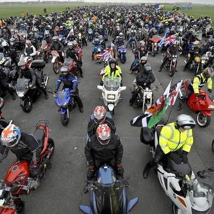 Motorcycles lined up on Runway 14